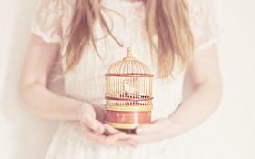 Картинка птица, клетка, девочка, птичка