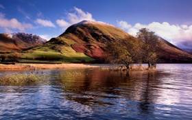 Обои пейзаж, озеро, гора