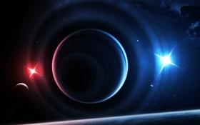 Обои звезды, дымка, свет, планеты, источники, вселенная