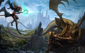 Картинка скалы, прыжок, магия, дракон, фэнтези, арт, посох