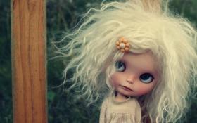 Картинка лицо, настроение, волосы, игрушка, кукла, блондинка