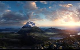Картинка горы, утро, рендер, mountain morning