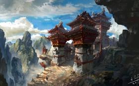 Картинка небо, скалы, человек, сооружение, арт, by xiaoxinart, lost temple