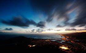 Обои ночь, огни, Гавайи, sky, ocean, Hawaii, night