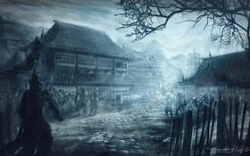 Картинка ночь, туман, дом, луна, забор, армия, арт