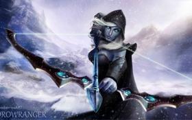 Картинка девушка, снег, лук, лучница, арт, эльфийка, dota