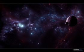 Обои вселенной, спутник, край