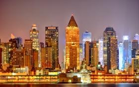 Картинка ночь, city, город, огни, дома, Нью-Йорк, вечер