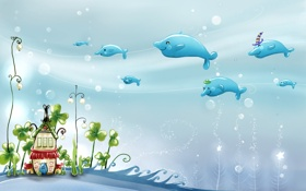 Обои рыбки, подводный мир, домик, рисунок
