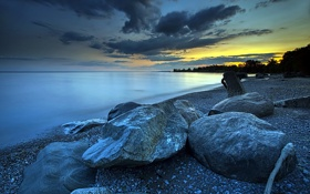 Обои камни, ночь, пейзаж, море