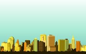 Обои небо, город, стилизация, небоскребы