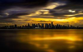 Обои город, дома, вечер, панорама, Vancouver