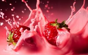 Обои брызги, красный, розовый, молоко, клубника, коктейль, вкусно