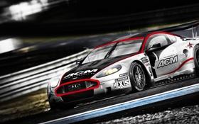 Обои гонка, скорость, Aston martin, трек, dbr9
