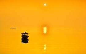 Обои отражение, лодка, небо, солнце, море