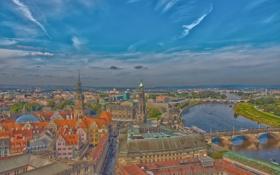Обои мост, река, дома, Германия, Дрезден, Эльба