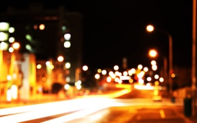 Обои улица, город, боке, ночь, огни