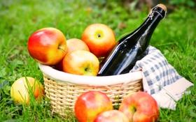 Обои корзина, яблоки, вино, трава, пикник, салфетка