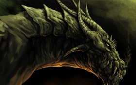 Обои дракон, дыхание, клыки, рога