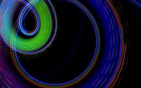 Картинка лучи, свет, линии, цвет, кольцо, трассы