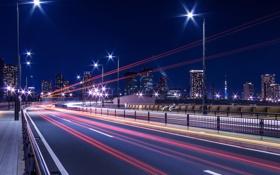 Обои свет, ночь, мост, город, огни, выдержка, Япония