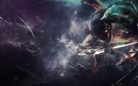 Картинка оружие, фон, арт, парень, клинки, Talon, League Of Legends