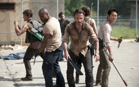 Картинка Maggie, T-Dog, Daryl, тюрьма, Glenn, serial, зомби