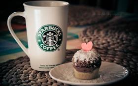 Картинка сердце, кружка, чашка, пирожное, сердечко, кекс, кокосовая стружка