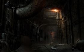 Картинка свет, трубы, мусор, лестница, мрачно, Alone in the Dark
