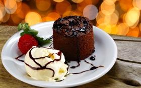 Обои шоколад, клубника, пирожное, десерт