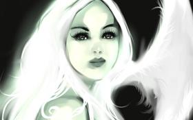 Картинка глаза, взгляд, девушка, лицо, ресницы, фон, арт
