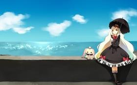Картинка море, берег, игрушка, зонт, арт, девочка, vocaloid