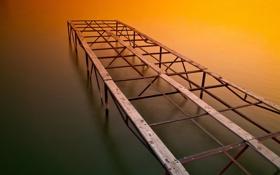 Обои закат, обои, строившийся мост