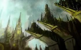 Обои город, скалы, высота, арт, выступы