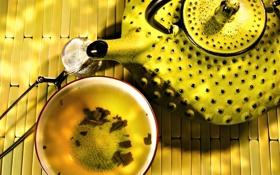 Обои желтый, Exotic tea, чайник
