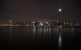 Обои ночь, река, луна, Нью-Йорк, небоскребы, USA, Манхэттен