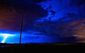 Обои ночь, молния, тучи, гроза