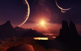 Картинка небо, скалы, поверхность, планеты