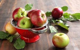 Обои листья, посуда, фрукты, яблоки, стол
