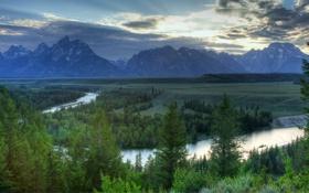 Картинка лес, небо, облака, горы, природа, река, вечер