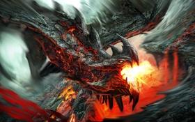 Картинка пламя, Дракон, лава