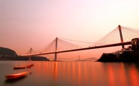 Картинка небо, закат, мост, блики, река, яркие, вечер