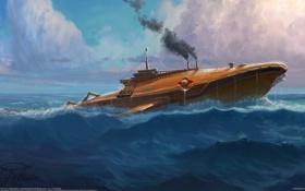 Картинка море, техника, субмарина, Jim Moore