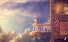 Картинка небо, девушка, горы, балкон, Marian, Марионетка, Alec Holowka