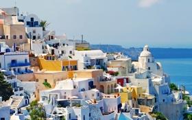 Картинка море, природа, здания, дома, Санторини, Греция, Santorini
