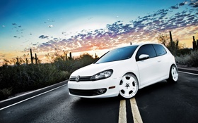 Картинка белый, закат, Volkswagen