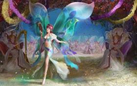 Обои радость, девушки, праздник, крылья, танец, фея, фэнтези