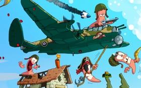 Обои самолет, веревка, пилот, динамит, мина, Worms, Червячки