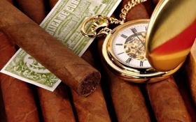Обои часы, сигара, хронометр