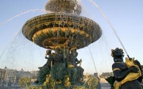 Обои золото, Франция, Париж, Фонтан, Paris, France, скульптуры